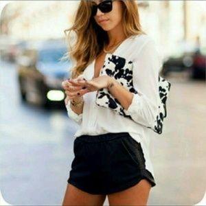 NWT Zara Trafaluc Jogger Vegan Leather Shorts Sz M